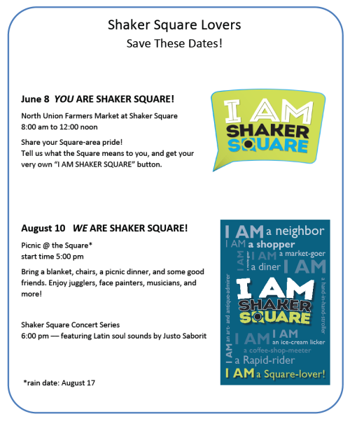 Shaker Square Lovers - Save the Dates!
